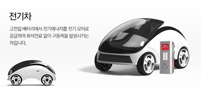 전기차 Electric car 고전압 배터리에서 전기에너지를 전기 모터로 공급하여 화석연료 없이 구동력을 발생시키는 차입니다.